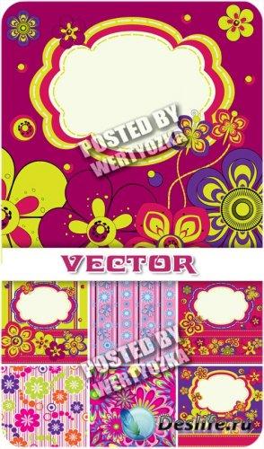 Фоны с разноцветными узорами и яркими цветочками / Backgrounds with colorfu ...