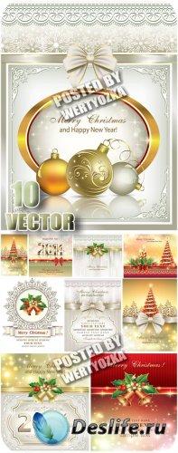 Новогодние серебристые фоны с елкой и колокольчиками / Christmas silver bac ...