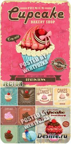 Кексы, фруктовые, шоколадные / Cupcakes, fruit, chocolate - stock vector