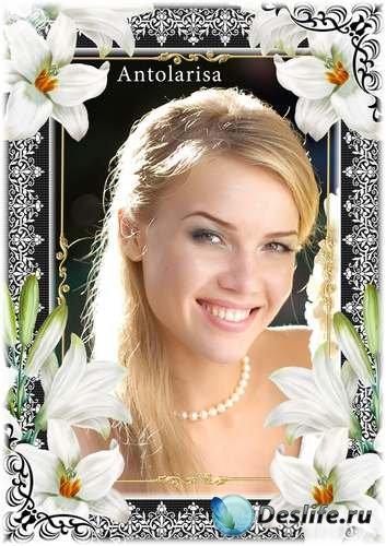 Цветочная рамка для фото – Белые лилии