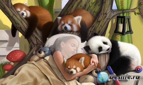 Костюм для photoshop - Крепкий сон вместе с пушистыми животными