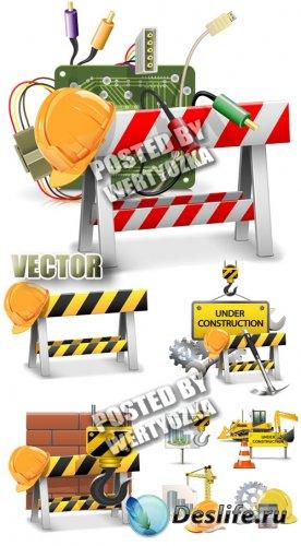 Строительные работы / Construction - stock vector