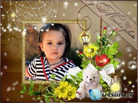 Рамка для фотошопа детская - Фонарики яркие