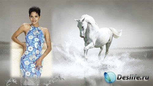 Рамка для фотомонтажа - Красивая лошадь бегущая по воде