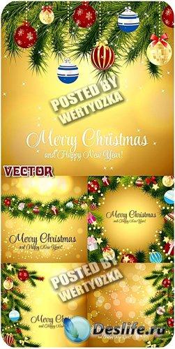 Золотые новогодние фоны с елочкой и шарами / Golden christmas background -  ...