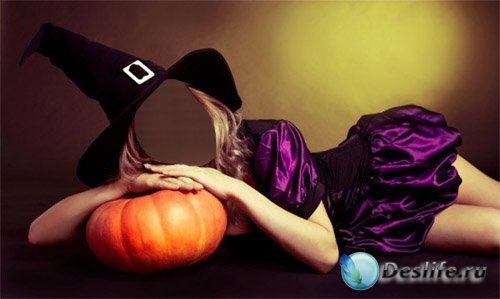 Костюм для фотошопа - Девушка в шляпе ведьмы ждет хэллоуина