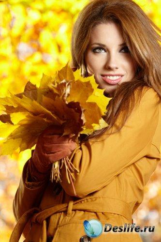 Фотосток -  Девушка осенними листьями
