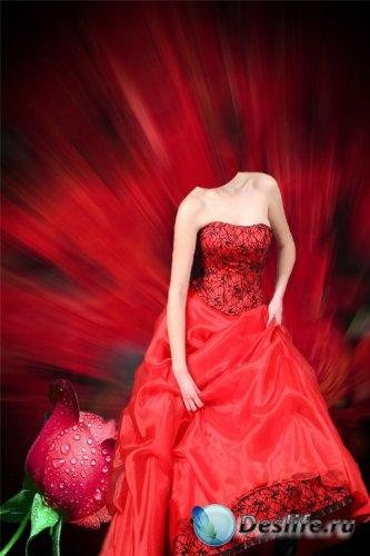 Женский костюм для монтажа - девушка в красном