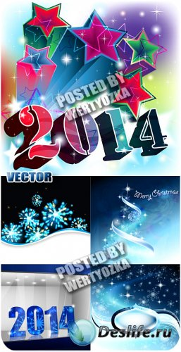 Новогодние фоны 2014 / 2014 New year backgrounds - stock vector