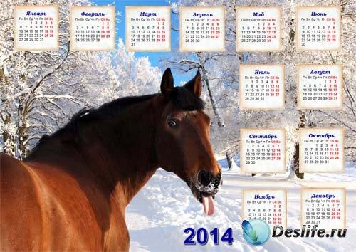 Календарь на 2014 год - Позитивная лошадка
