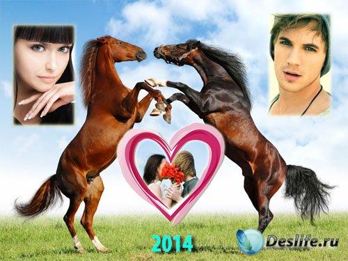 Рамка для фотошоп - 2 игривых лошади