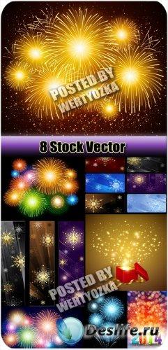 Новогодние салюты, баннеры с снежинками / New Year's fireworks, banners wi ...