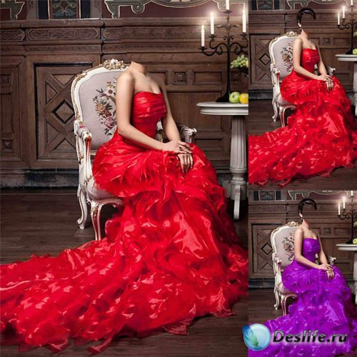 Женский костюм - Девушка сидя на кресле в пышном наряде