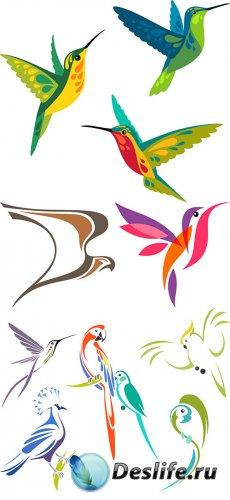 Векторный клипарт - Стилизованные птицы