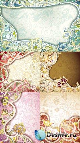 Векторный клипарт - Цветочные фоны 3