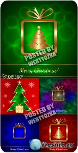 Рождественские фоны с золотой елкой / Christmas background with golden chri ...