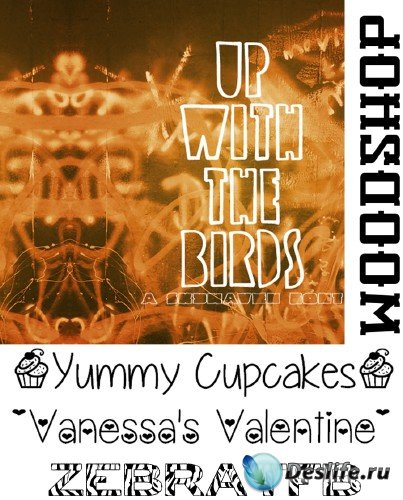 Fonts Up with the Birds, zebra,Vanessas Valentine