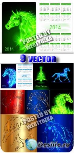 Лошадки 2014, календарь / Horses 2014 Calendar - Stock Vector