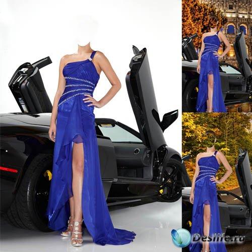 Женский костюм - В вечернем наряде у черного Ferrari
