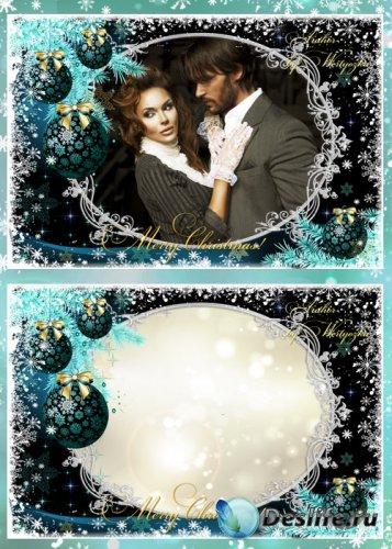 Рамка для фотошопа - Белые снежинки, елка и новогодние шары