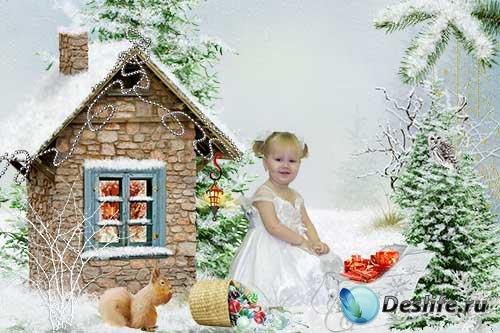 Шаблон для фотошопа - Дед мороз прислал подарки