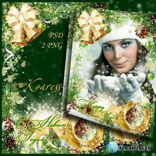 Поздравительная новогодняя фоторамка - Подкова золотая удачу принесет