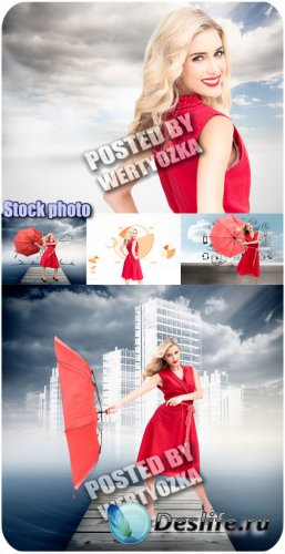 Девушка в красном платье с зонтом - сток фото