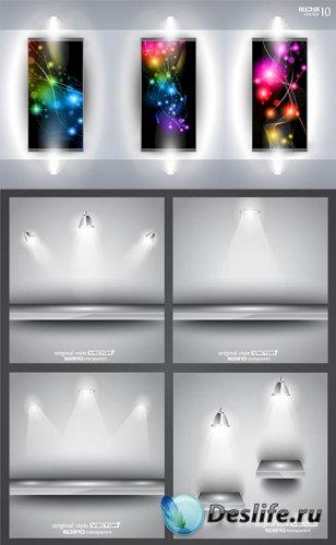 Векторный клипарт - Полки с LED подсветкой