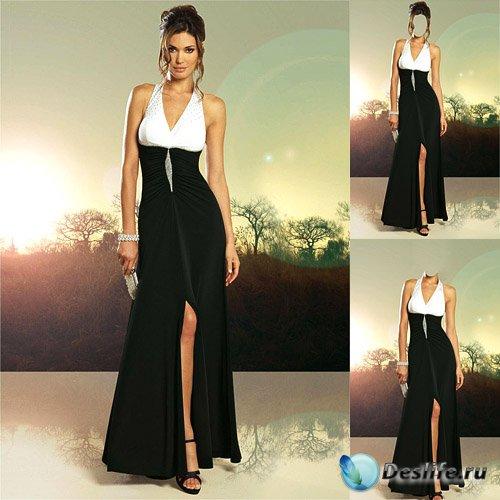 Костюм для photoshop - В черно-белом вечернем платье