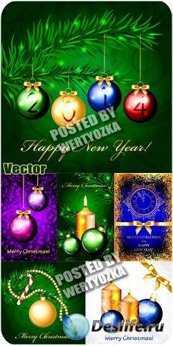 Новогодние шары и свечи - сток вектор
