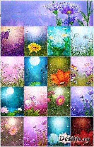 Цветочная сказка (коллекция фонов)