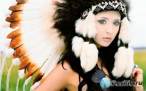 Костюм для фотомонтажа - Шикарная брюнетка в костюме индейки