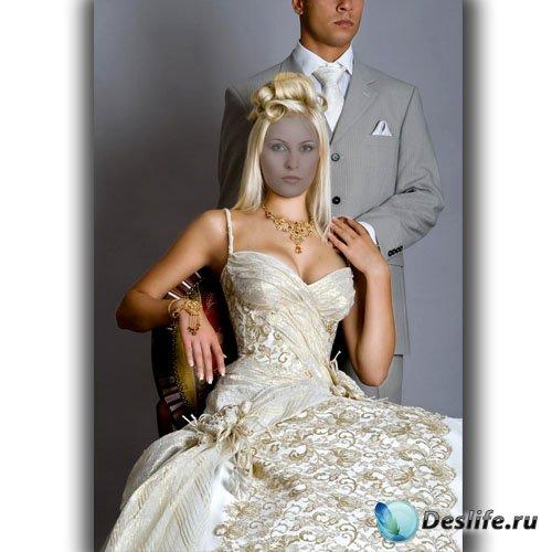 Костюм для фотомонтажа - Красивая блондинка в платье шампань