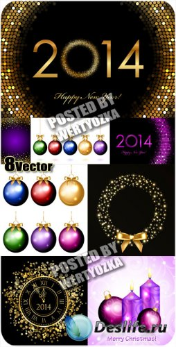 Новогодние фоны 2014, елочные шары и свечи - вектор