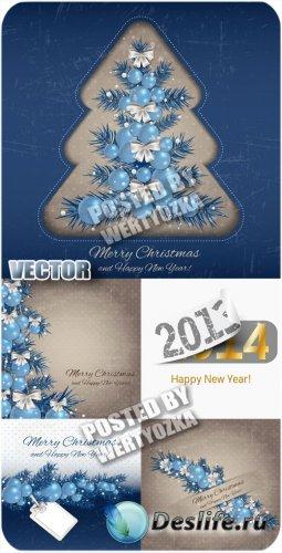 Винтажные рождественские фоны с голубыми елочными шарами - вектор