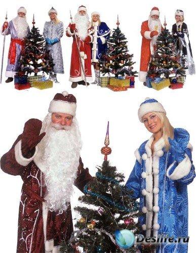 Фотосток: Дед Мороз, Снегурочка и Новогодняя елка