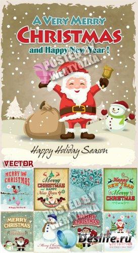Санта Клаус, рождественские старинные векторные фоны