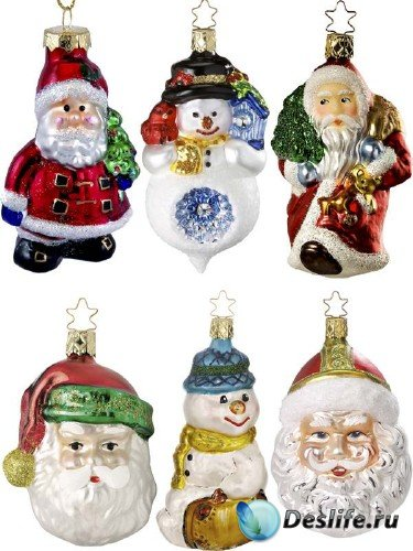Елочные игрушки: Дед Мороз, Санта Клаус и Снеговик