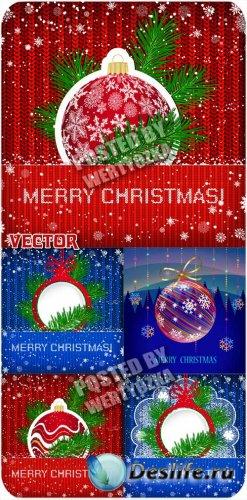 Рождественские фоны с елочкой и шарами - вектор