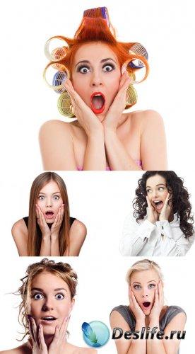 Растровый клипарт - Удивлённые женские лица