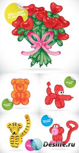 Векторный клипарт - Животные и буквы из воздушных шариков