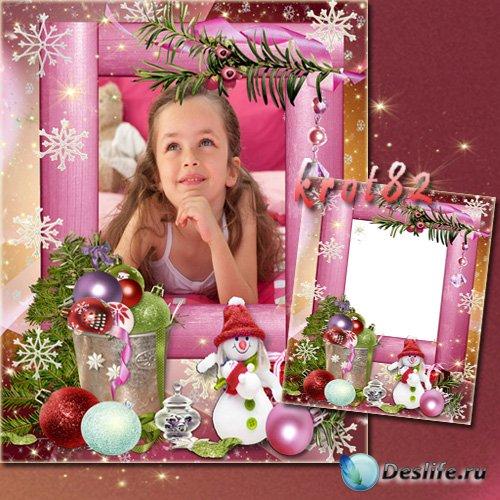 Красивая новогодняя фоторамка для девочки – Белый снеговик в красном колпак ...