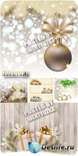 Сияющие новогодние фоны с шарами и подарками - вектор