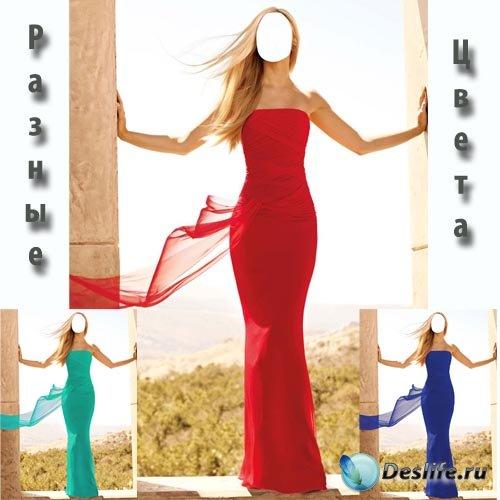 Костюм для фотошопа - Стройная блондинка в платье разнообразных цветов