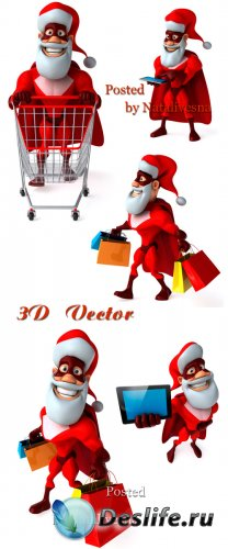 3D Санта с подарками на белом фоне