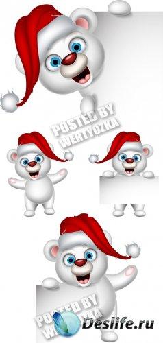 Забавный мишка в шапке санты - вектор