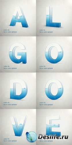 Векторные 3D буквы с водой