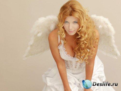 Костюм для photoshop - Девушка с ангельскими крыльями в белоснежном платье