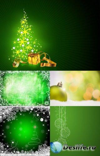 Зелёные Новогодние фоны