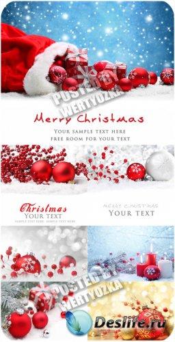 Красные рождественские шары - сток фото